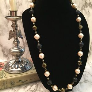 Vintage Gold Crackle Pearl Necklace H14
